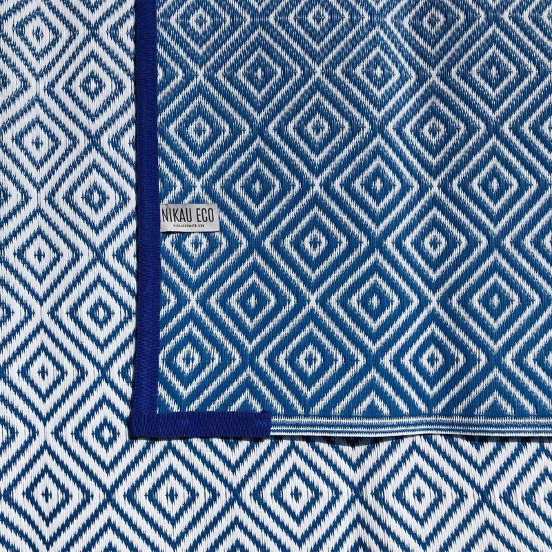 Outdoor/Camping Recycled Plastic Eco Mat Blue & White